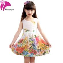New Brand 2016 Girls Dress Summer Chiffon Kids Flower Dress Sleeveless Princess Party Dresses Vestido Infantil Kids Clothes