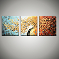 3 piece canvas wall art wall picture modern flower colorful acrylic floral knife tree oil painting