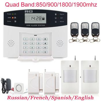 Металла Дистанционного Управления Голосовые Подсказки Беспроводной датчик двери Главная Безопасность GSM сигнализации ЖК-Дисплей Проводной Сирена Комплект SIM SMS сигнализация