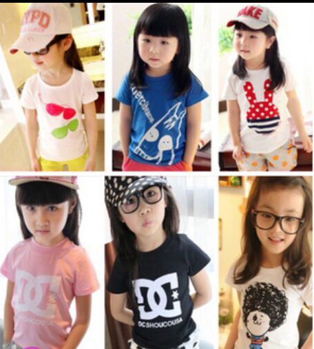 Children's clothing child summer 2015 cartoon Girl children 100% cotton short-sleeve T-shirt baby top wear - Spring Children Clothes and Shoes store