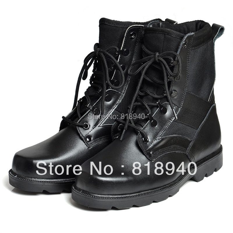 Men Black Ankle Boots Combat Cadet Military Army Security Leather