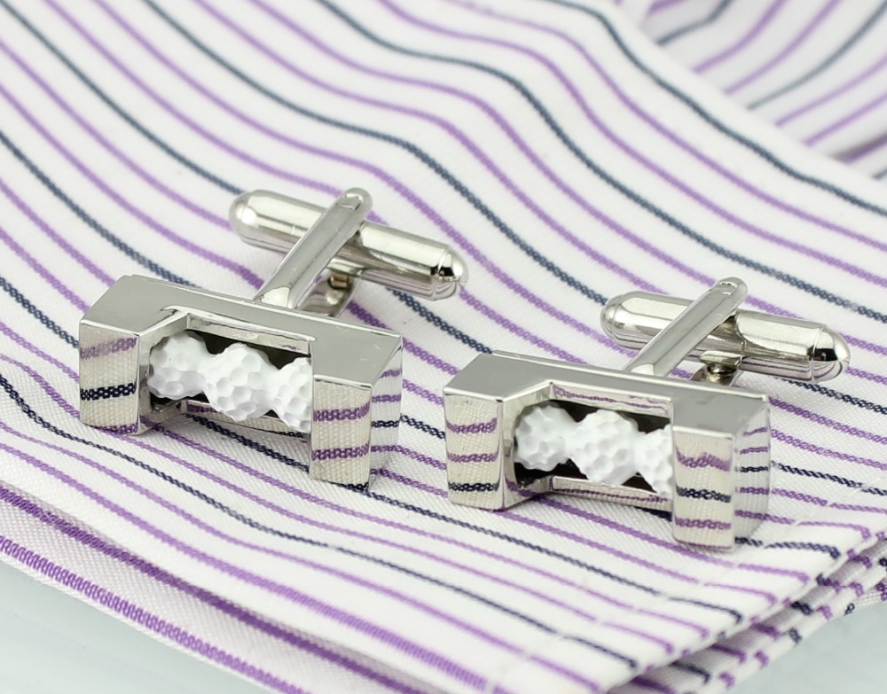 Fancy Cuff Links New White Silver Golf Ball CUFFLINKS for Shirt Only One HO732(China (Mainland))