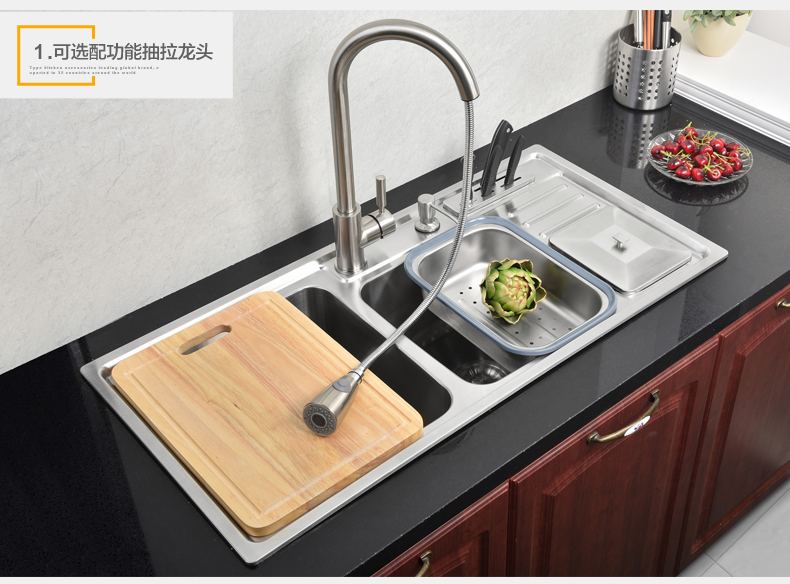 Buy Free shipping kitchen wash basin with a knife knife, 304 stainless steel Kitchen Sinks cheap