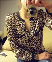 2015 spring auturn Hot Sale Sexy New Women Casual spring Wild Leopard Shirt Long-sleeved Top Blouse S/M/L/XL
