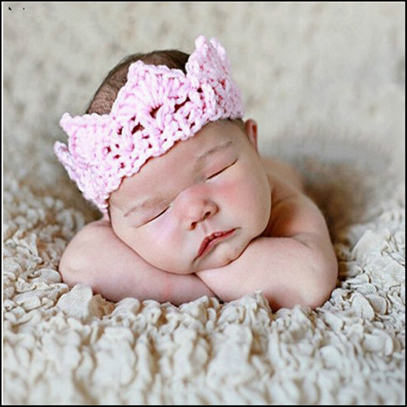 New style mix colors crown style baby hat handmade crochet photography props newborn baby cap only for newborn(China (Mainland))