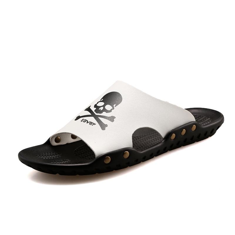 designer flip flops m826  2017 Fashion Men's Footwear Slippers Brand Designer Flip Flops Summer Beach  Sandals Men Skeleton Pirates Genuine