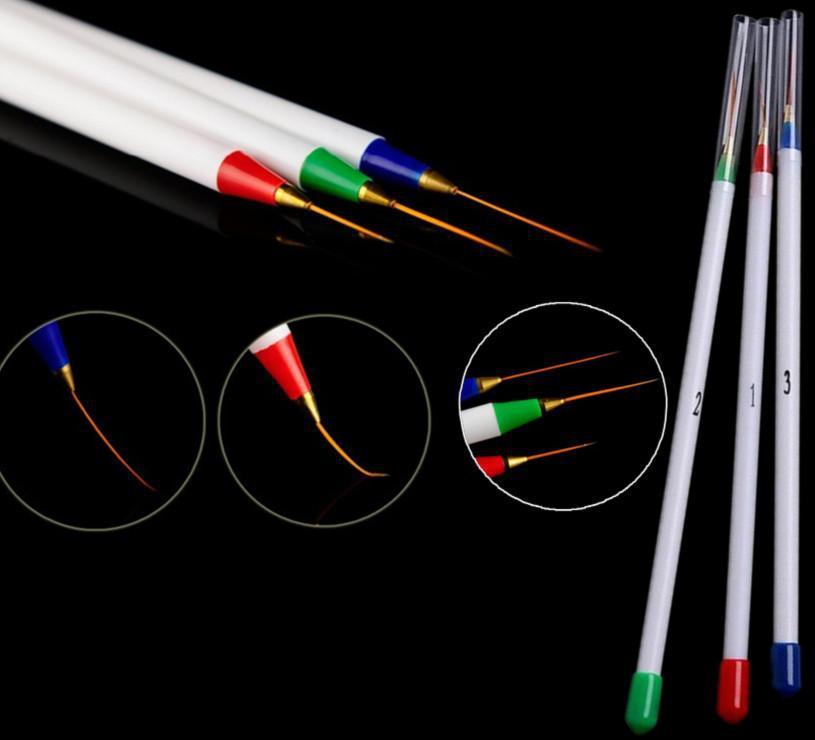 Гаджет  New 2014 3pcs Nail Art Design DIY Acrylic Draw Painting Striping UV Gel Pen Brush Set HOS None Офисные и Школьные принадлежности