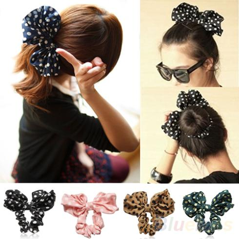 Lovely Big Rabbit Ear Bow Headband Headwear Hair Ribbons Ponytail Holder Hair Tie Band Korean Style Women Accessories 1I44(China (Mainland))