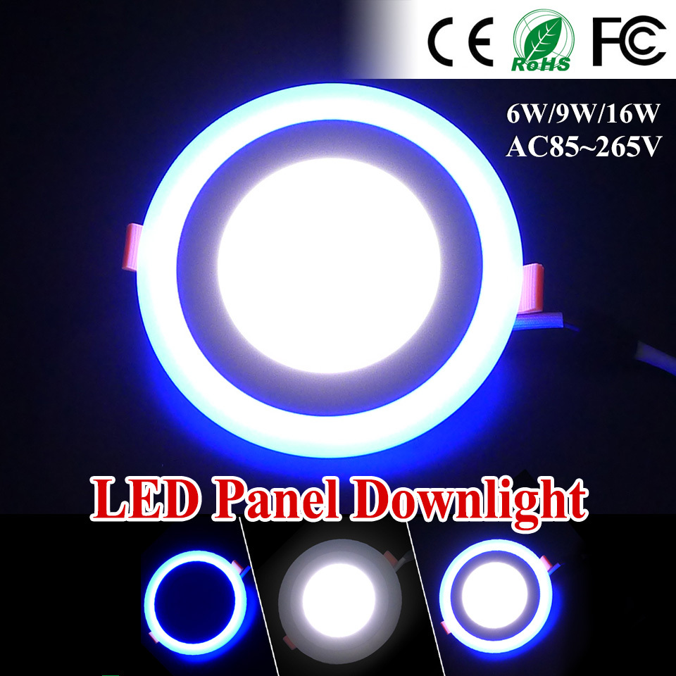 Free Fedex Ship LED Panel Downlight 6w 9w 16W Round/Square Acrylic Blue Light Ceiling Recessed Lamp Indoor Lighting Panel Light(China (Mainland))