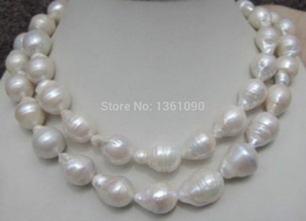 xd 00605 HUGE 12-18MM NATURAL AAA SOUTH SEA WHITE BAROQUE PEARL NECKLACE 35 INCH AAA (A0327)(China (Mainland))