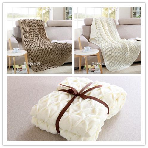 Free shipping high quality cotton & handmade knit blanket throw for sofa bed 127 x 152cm in