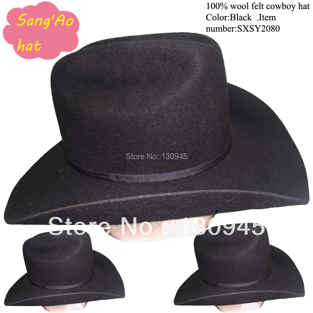 special wholesale black large cowboy hats for men100% wool felt wear cool season  for equitation or riding(China (Mainland))
