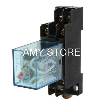 220/240VAC Coil Red Pilot Lamp DPDT DIN Rail Mounted Power Relay w Socket<br><br>Aliexpress
