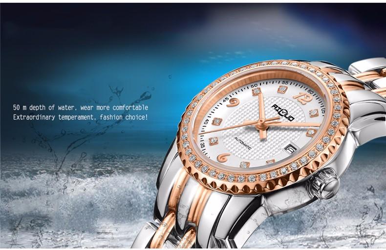 Бренд Ailuo Классические мужские Бизнес & Случайные Часы Авто Механические Мужские Наручные Часы Влюбленных Часы Diamond Dial 316L Сталь Календарь