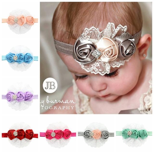 2015 мода корейский цветок повязка на голову младенцы Hairband малышей ленты розы ...