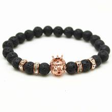 Buy Antique Black Beads Gold Silver Plated Leo Lion Head Bracelet Men Black Lava Stone Beads Charm Bracelets Jewelry Plusera for $1.52 in AliExpress store