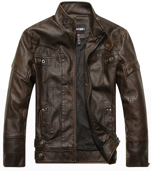 Motorcycle leather jackets men jaqueta de couro masculina Bomber leather jacket Inverno ...