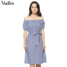 Women sexy slash neck striped sashes dress short sleeve pockets design ladies summer fashion casual dress vestidos QZ2429(China (Mainland))