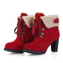 Gdgydh 2018 Yeni Kış Kürk Yüksek Süet Çizmeler sıcak ayakkabı Kadın Bağlama Yuvarlak Toe Yüksek Topuklu yarım çizmeler Kadın Toka Büyük Boy 43(China)