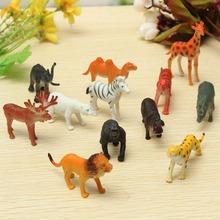 Горячая 12 Шт./компл. Пластиковые Зоопарк Животное Рисунок Тигр Леопард Бегемота Жираф детские Игрушки Мини Рисунок Прекрасное Животное Игрушки Подарочный Набор Для дети(China (Mainland))