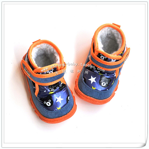Winter blue bear medium thermal cut snow boots male female child large cotton baby shoes winter warm shoes