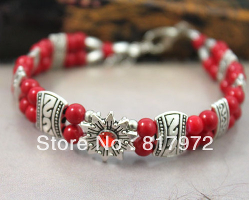 Wholesale 2013-2014 New Arrive red coral bead inlay Tibet silver flower Bracelet Adjustable Holiday gift Free shipping<br><br>Aliexpress