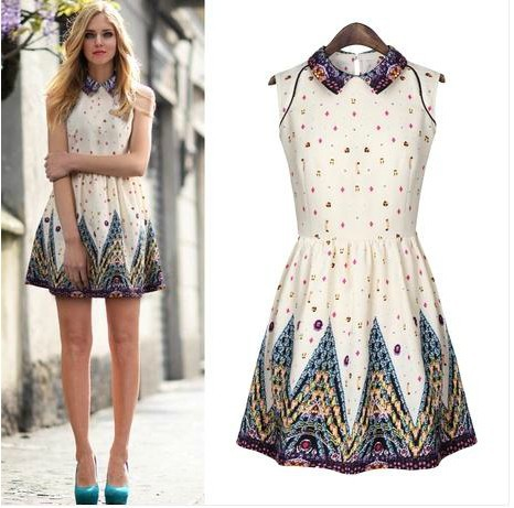 2014 Spring Vintage Style Women 39 S Fashion White Sleeveless Porcelain Print Flare Dress Women