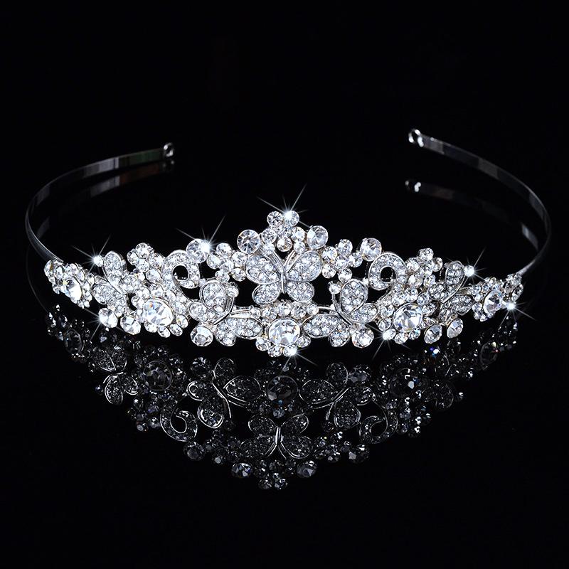 Butterfly Rhinestone Crystal Wedding Tiara Head Piece For Bridal Bridesmaid Hair Combs Crown Evening Headband Barrette DFJ156132(China (Mainland))