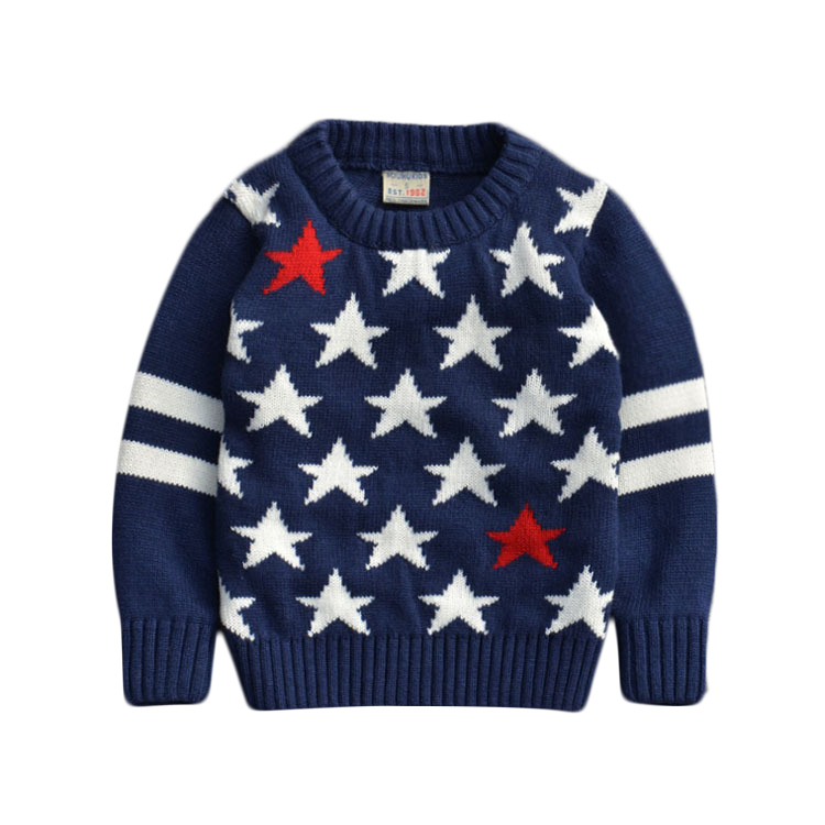 Children Sweaters baby boys girls 100%Cotton warm sweater 2015 New Autumn/winter Kids Pullover Solid Pullovers stars print(China (Mainland))
