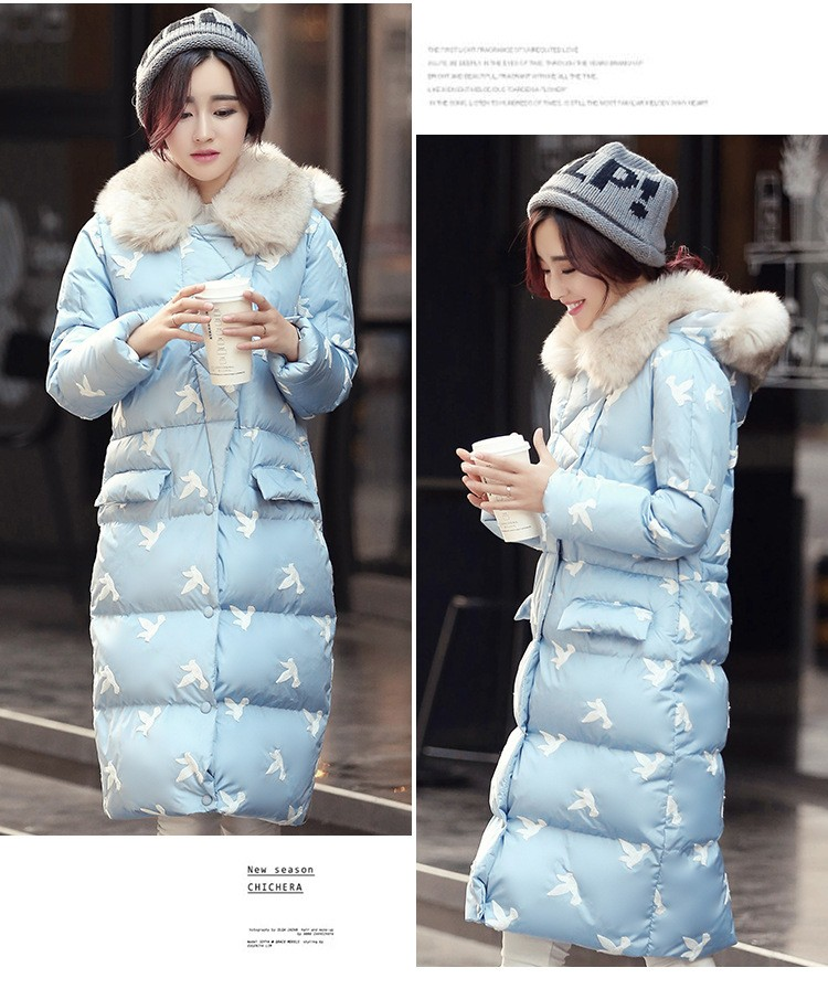 New Winter Fashion Women Clothing Hooded Thicken Super warm Medium long Down jacket Aerial bird Print Loose Big yards Coat NZ25