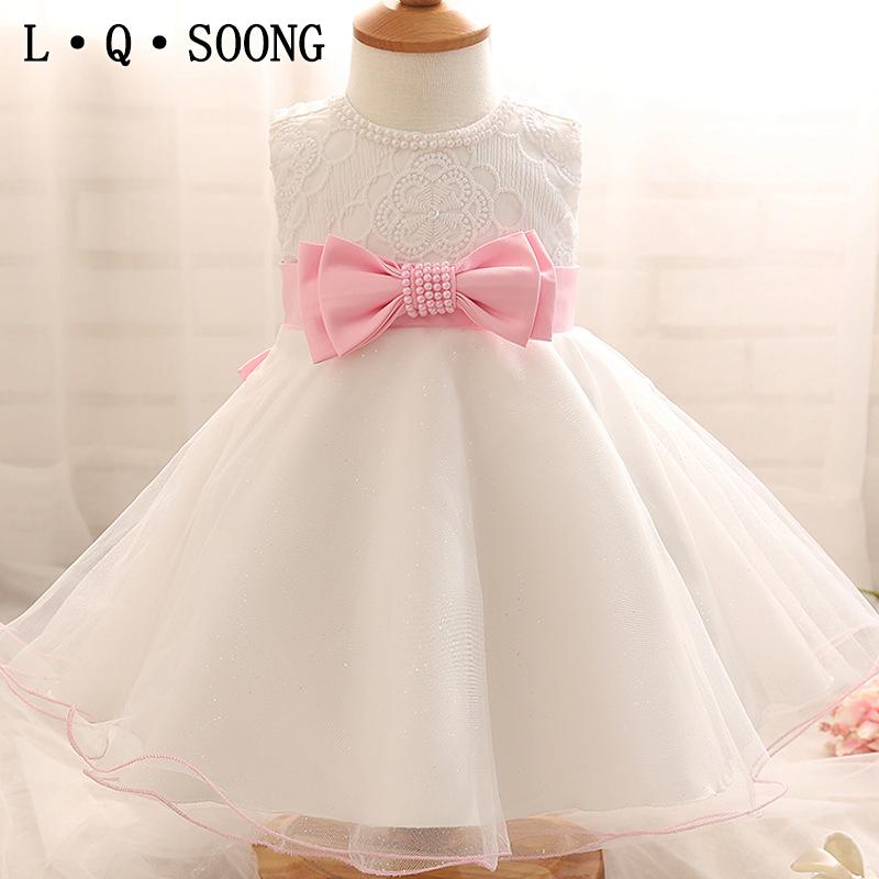 L Q SOONG brands 1 year girl baby birthday dress white beading bowknot pearl baby girl summer dress toddler princess dress(China (Mainland))