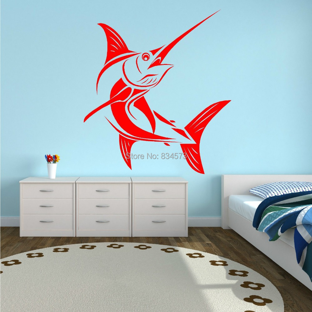 House Decoration Craft Kissing Fish Home Furnishings: MARLIN-SALTWATER-FISH-FISHING-Wall-Art-Sticker-Decal-Home