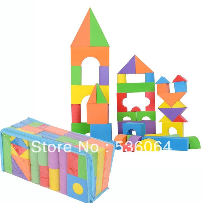 50pcs Soft EVA Foam Building Blocks Bricks Set Children Child Play Toys Free Shipping(China (Mainland))