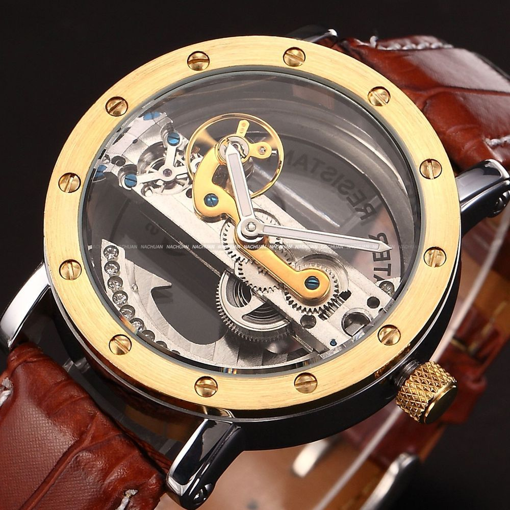 Punk Gold case transparent skeleton crystal inlaid men women automatic mechanical brown leather strap wristwatch momo new design<br><br>Aliexpress