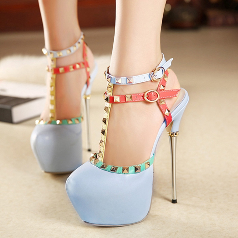 Womens High Shoes 16cm Pumps Ankle T Strap Strappy Metal Heel Stiletto Belt Buckle Sexy Red Blue Ultra Hidden Platform Heels<br><br>Aliexpress