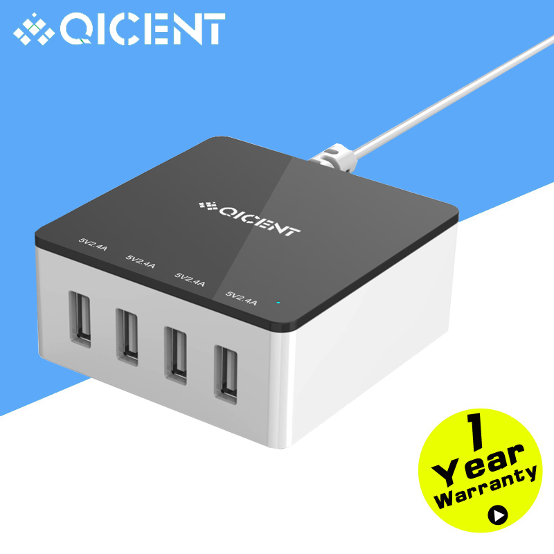QICENT 4-Port 30Watt(5V 2.4A) Family-sized USB Desktop Surper Charger with Detachable Power Cable for iPhone/Samsung Galaxy S6(China (Mainland))