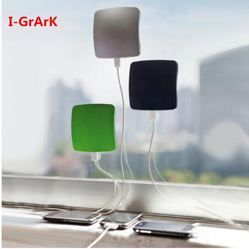 GRARK NEW Arrival Solar Power Bank 2400mAh Portable Square Suckers Style Solar Charger Standard USB Solar Power Bank 3 colors(China (Mainland))