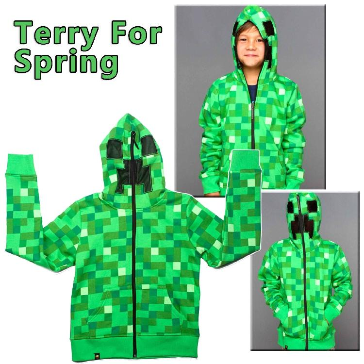 2015 Autumn Boys Creeper Minecraft Hoodies Sweatshirts Camouflage Minecraft Hoodies Jacket Kid Boys Children Clothes brand(China (Mainland))
