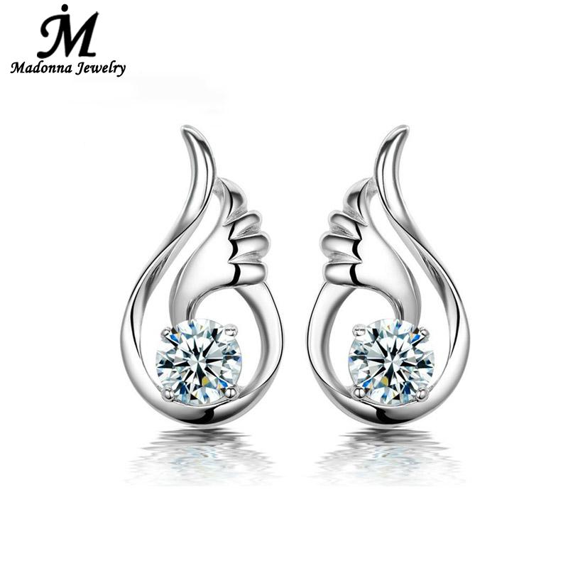 Fashion Fine Jewelry Purple White Crystal 925 Silver Stud Earring Angel Wings Design Ear Jewelry Brand Online Wholesale Gift(China (Mainland))