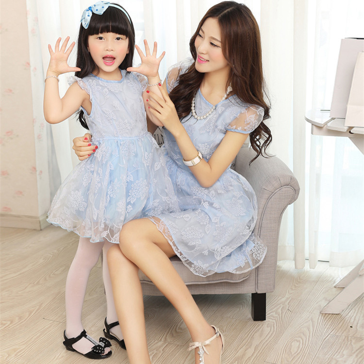 2015Organza Family Matching Outfits Europe Mother And Daughter Dress Mommy Me Baby Party Lace Dresses For Girl Free Shipping Nice Plus Size Clothing