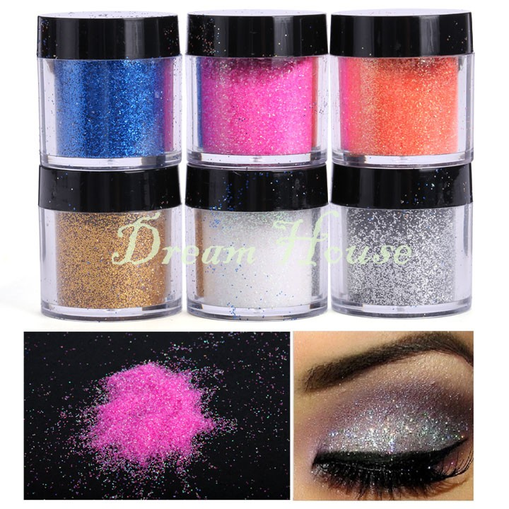 2015 New 6 Piece Cosmetics Eye Shadow Color Makeup Pro Glitter Eyeshadow Powder Palette One Set Professional Makeup US51(China (Mainland))