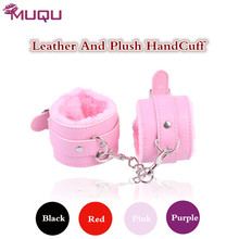Quality hand cuffs leather Plush four colors ankle cuffs metal bdsm fetish sm toys Restrains adult sm games sex toys for couples