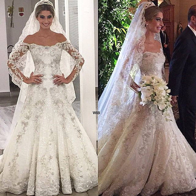 vestido de noiva sheer long sleeve wedding dresses beaded lace bridal dress mermaid wedding gown luxurious