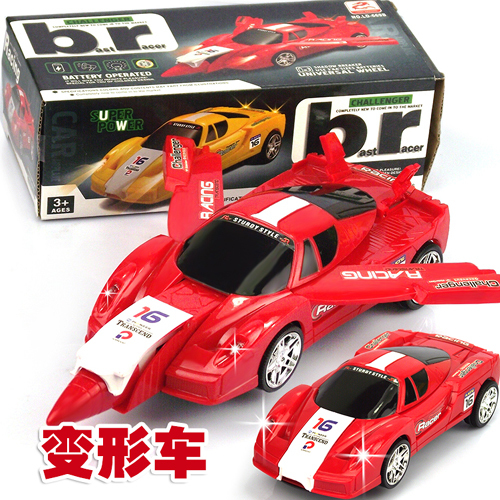 Free shipping electric car deformation of non- universal remote control light aircraft racing car baby educational toys for chil(China (Mainland))