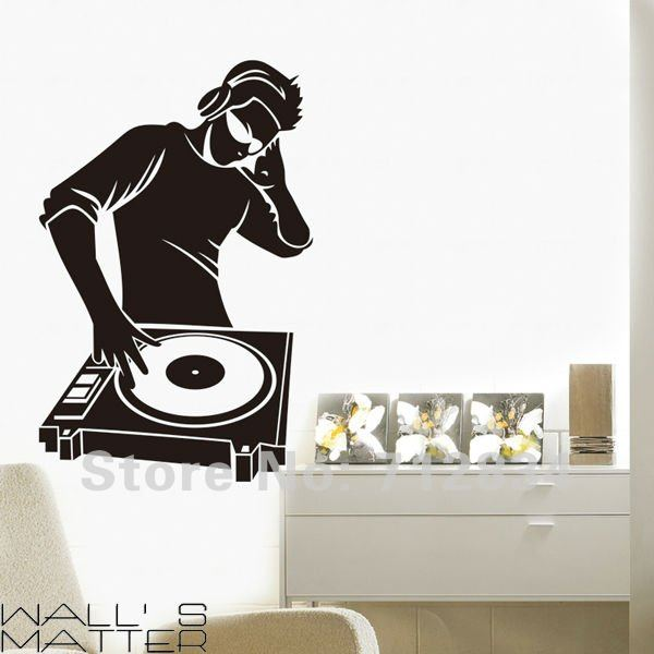 B z d free shipping dj music art decals removable home for Z home decor