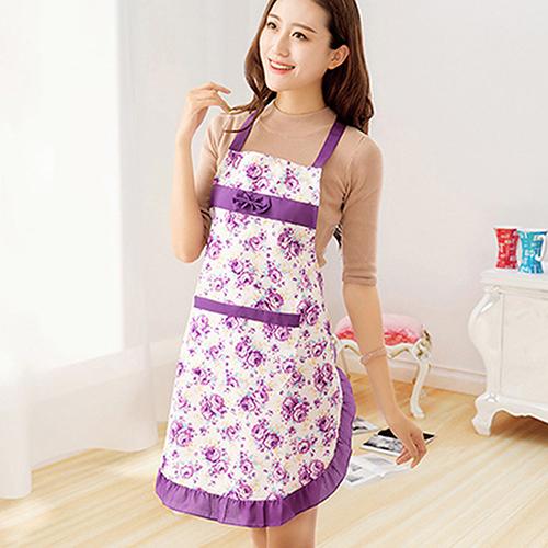 Best Selling Women Lady Dress Restaurant Home Kitchen Cooking Cotton Apron Bib Floral Pattern AJ9U(China (Mainland))