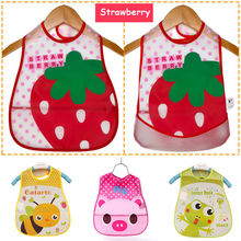 1 pc New Cartoon Kids Turn Translucent Plastic Bibs Child EVA Soft Waterproof Bibs 7 styles baby accessories(China (Mainland))