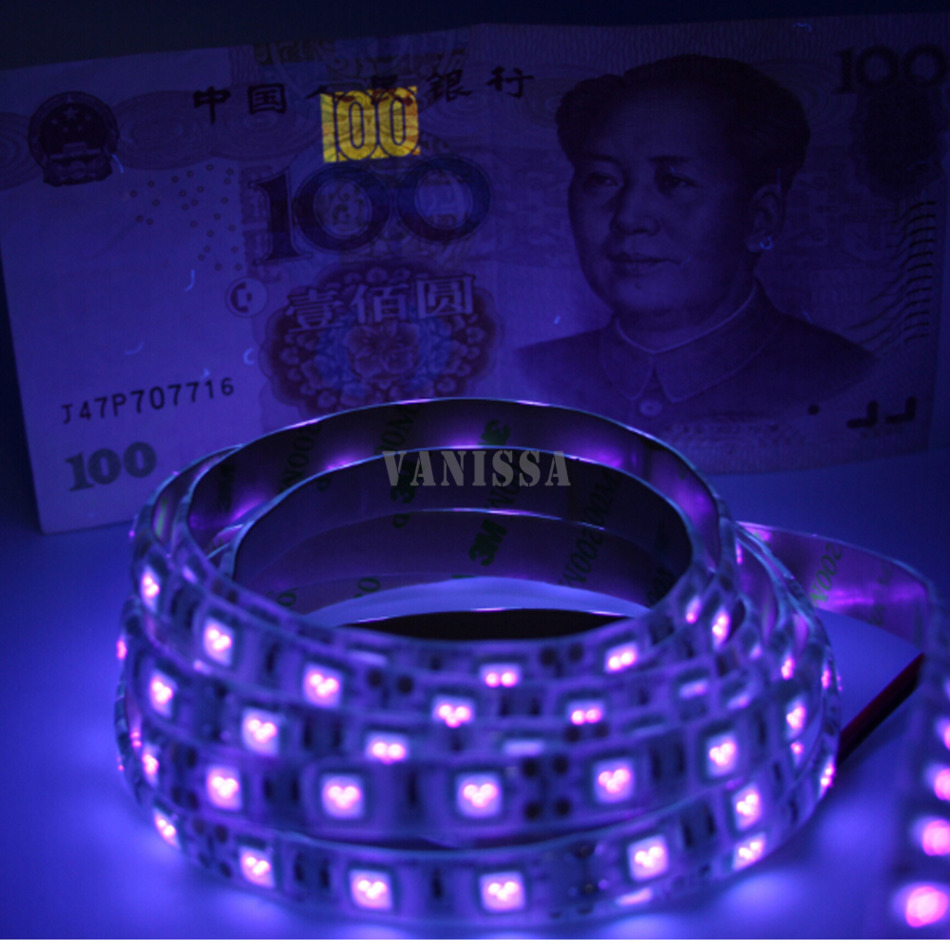 DC12V 1-5m UV black light Led Strip 5050 SMD 60led/m ip65/non waterproof Ultraviolet Ray Purple Flexible Tape Ribbon lamp(China (Mainland))