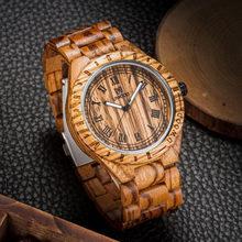 Reloj de madera, UWOOD Natural hecho a mano gran tamaño romano número negro reloj de sándalo relojes de pulsera de madera para hombre(China)