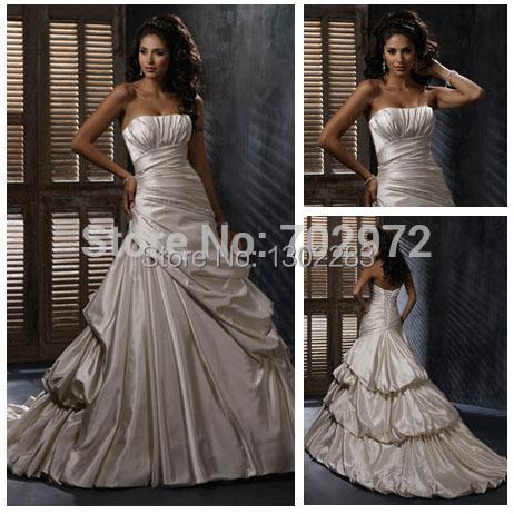 2015Champagne Satin Long Train Stunning New Ball Gown Wedding Dress Patterns(China (Mainland))